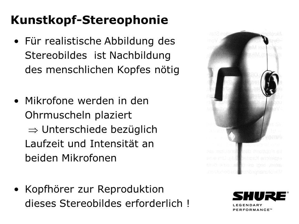 Kunstkopf-Stereophonie Für realistische Abbildung des Stereobildes ist Nachbildung des menschlichen Kopfes nötig Mikrofone werden in den Ohrmuscheln plaziert Unterschiede bezüglich Laufzeit und Intensität an beiden Mikrofonen Kopfhörer zur Reproduktion dieses Stereobildes erforderlich !