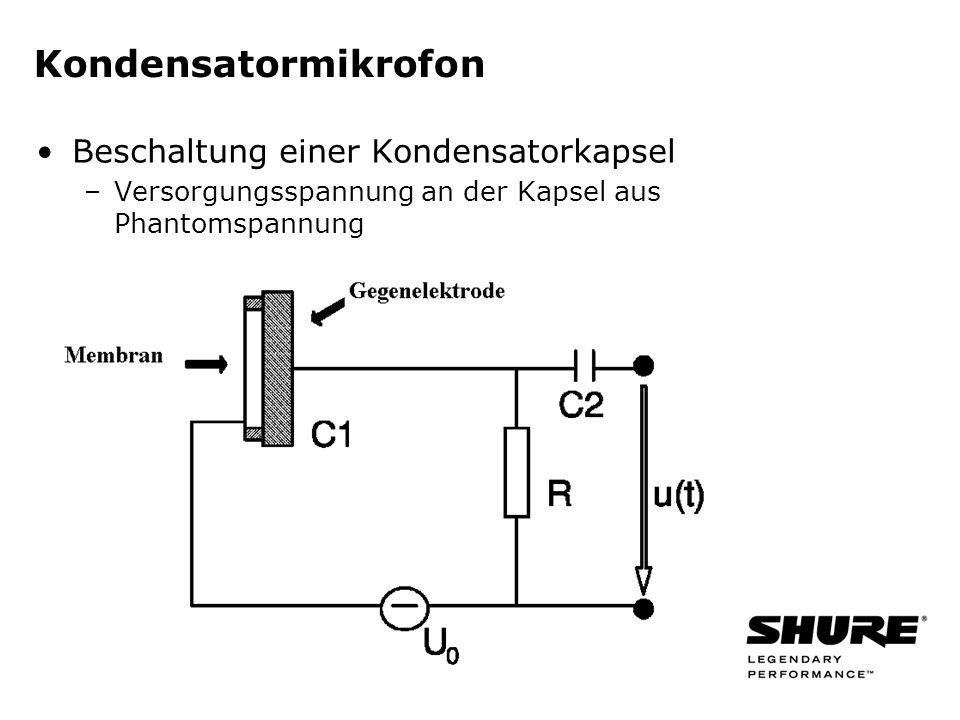 Kondensatormikrofon Beschaltung einer Kondensatorkapsel –Versorgungsspannung an der Kapsel aus Phantomspannung