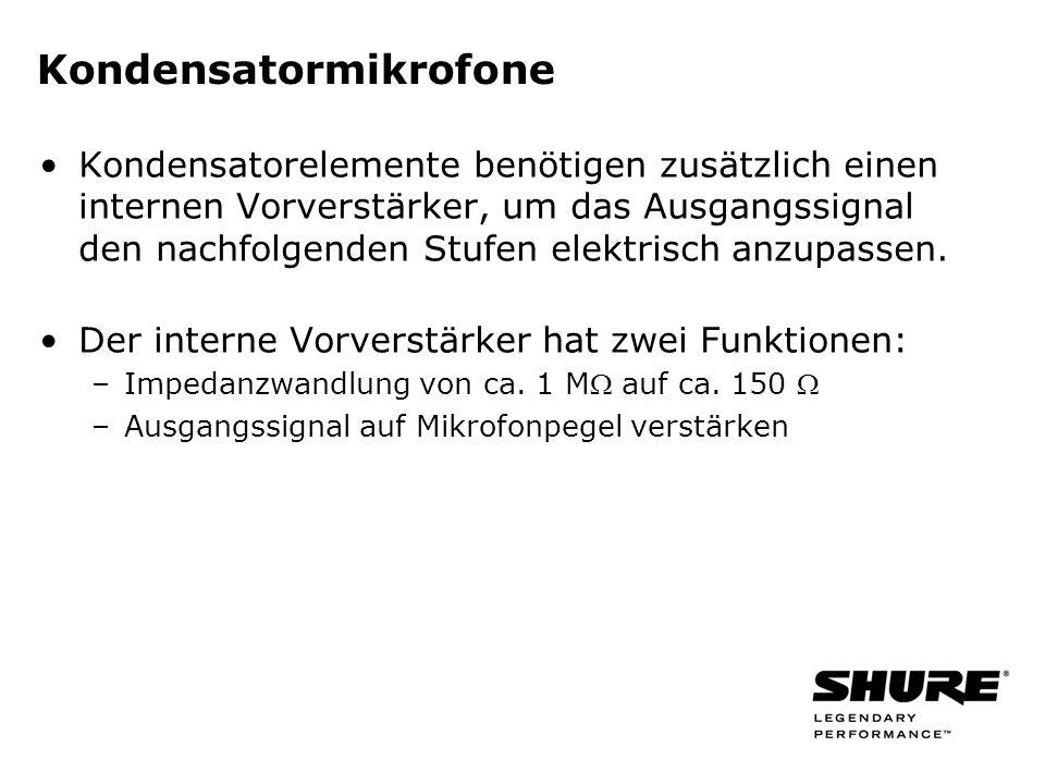 Kondensatormikrofone Kondensatorelemente benötigen zusätzlich einen internen Vorverstärker, um das Ausgangssignal den nachfolgenden Stufen elektrisch anzupassen.