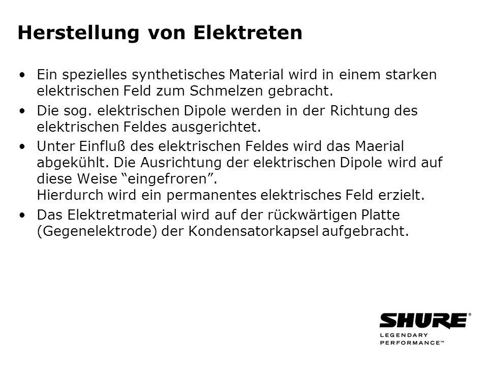 Herstellung von Elektreten Ein spezielles synthetisches Material wird in einem starken elektrischen Feld zum Schmelzen gebracht.