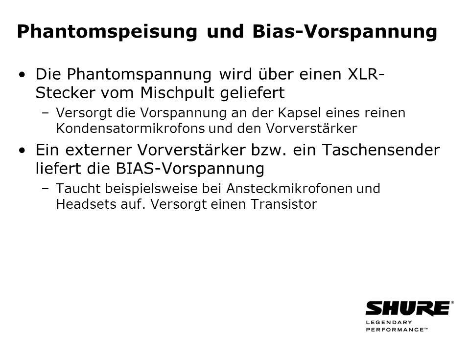 Phantomspeisung und Bias-Vorspannung Die Phantomspannung wird über einen XLR- Stecker vom Mischpult geliefert –Versorgt die Vorspannung an der Kapsel eines reinen Kondensatormikrofons und den Vorverstärker Ein externer Vorverstärker bzw.