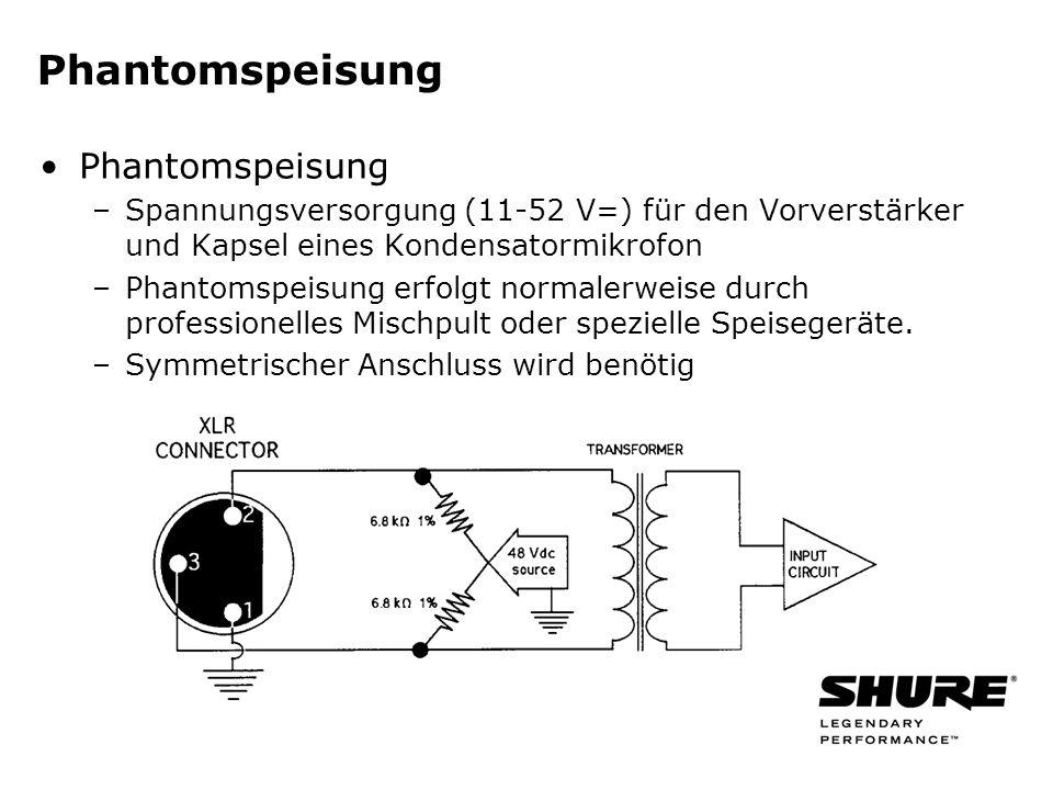 Phantomspeisung –Spannungsversorgung (11-52 V=) für den Vorverstärker und Kapsel eines Kondensatormikrofon –Phantomspeisung erfolgt normalerweise durch professionelles Mischpult oder spezielle Speisegeräte.