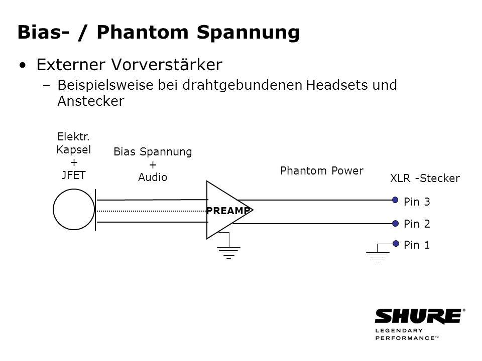 Bias- / Phantom Spannung Externer Vorverstärker –Beispielsweise bei drahtgebundenen Headsets und Anstecker PREAMP Bias Spannung + Audio Phantom Power XLR -Stecker Pin 3 Pin 2 Pin 1 Elektr.