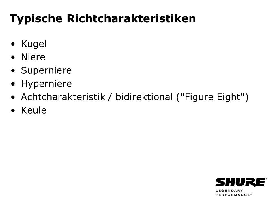 Typische Richtcharakteristiken Kugel Niere Superniere Hyperniere Achtcharakteristik / bidirektional ( Figure Eight ) Keule