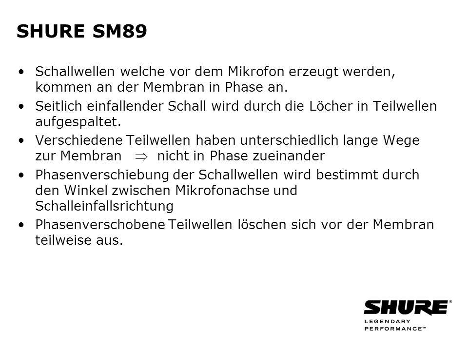 SHURE SM89 Schallwellen welche vor dem Mikrofon erzeugt werden, kommen an der Membran in Phase an.