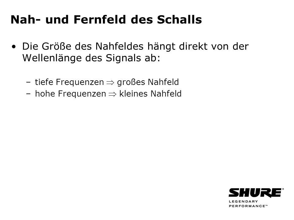 Nah- und Fernfeld des Schalls Die Größe des Nahfeldes hängt direkt von der Wellenlänge des Signals ab: –tiefe Frequenzen großes Nahfeld –hohe Frequenzen kleines Nahfeld