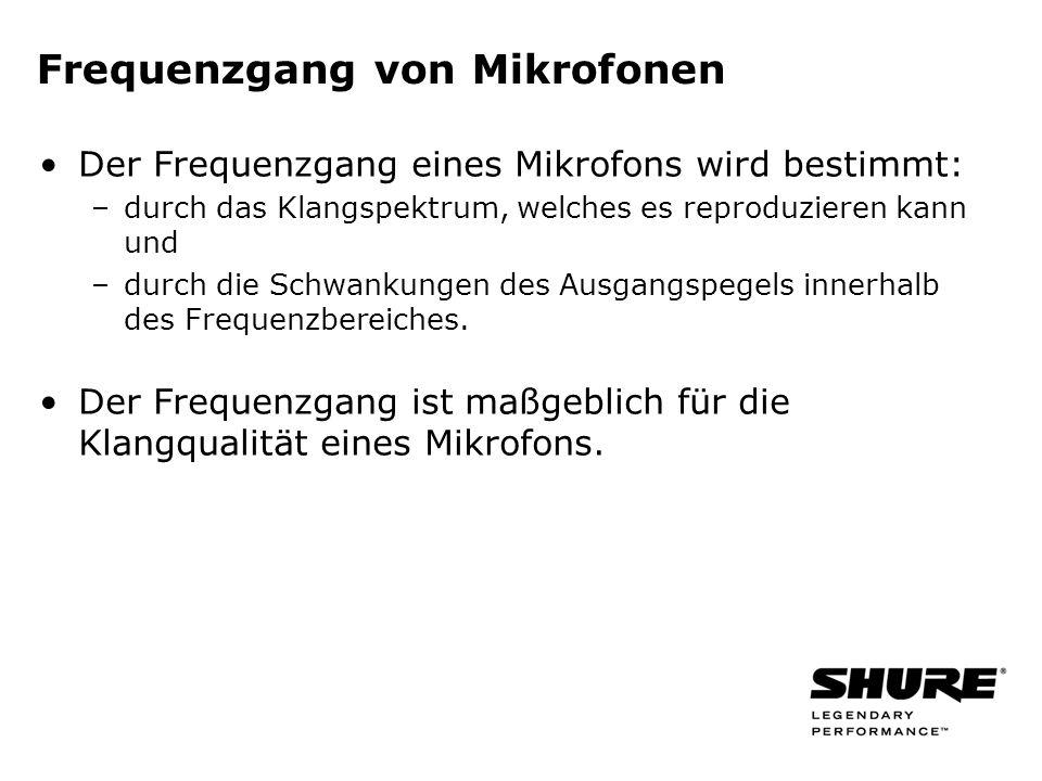 Frequenzgang von Mikrofonen Der Frequenzgang eines Mikrofons wird bestimmt: –durch das Klangspektrum, welches es reproduzieren kann und –durch die Schwankungen des Ausgangspegels innerhalb des Frequenzbereiches.