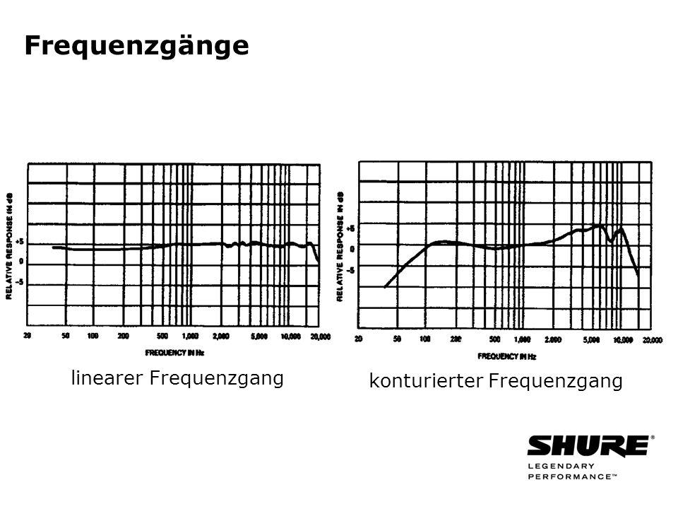 Frequenzgänge linearer Frequenzgang konturierter Frequenzgang