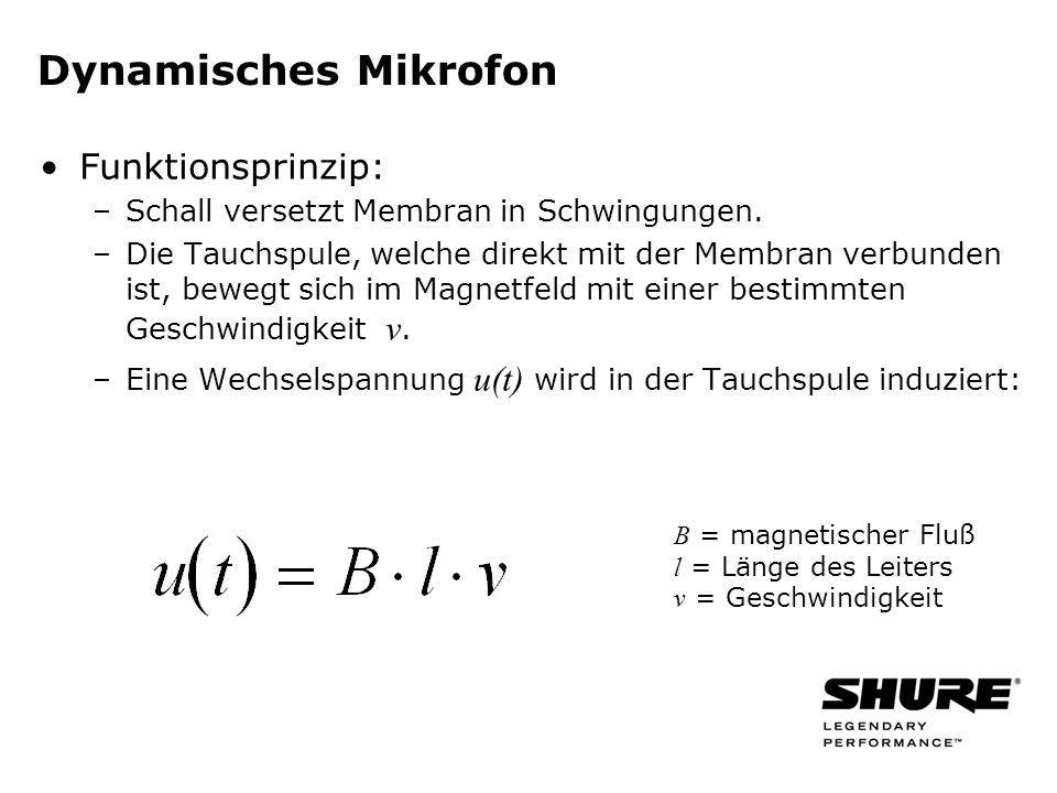 Betrieb eines dynamischen symmetrischen Mikrofons mit Phantomspeisung: keine Beeinflussung Betrieb eines unsymmetrischen Mikrofons mit Phantomspeisung: wahrscheinlich keine Beschädigung, jedoch Funktionsstörungen möglich