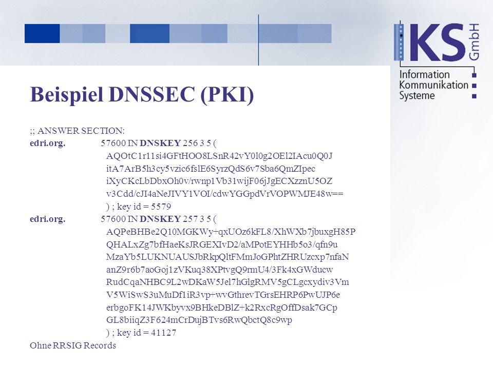 Beispiel DNSSEC (PKI) ;; ANSWER SECTION: edri.org. 57600 IN DNSKEY 256 3 5 ( AQOtC1r11si4GFtHOO8LSnR42vY0l0g2OEl2IAcu0Q0J itA7ArB5h3cy5vzic6fslE6SyrzQ