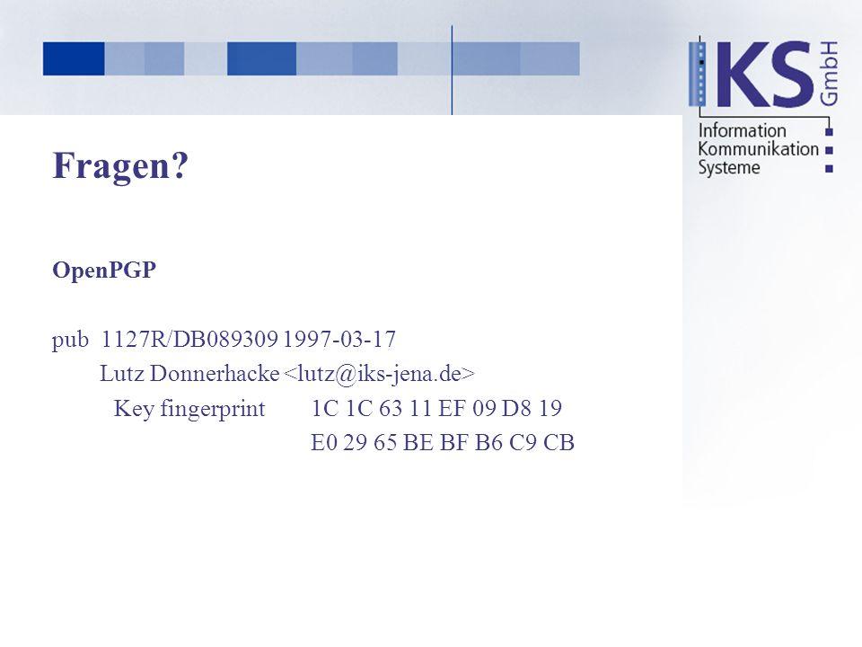 Fragen? OpenPGP pub 1127R/DB089309 1997-03-17 Lutz Donnerhacke Key fingerprint1C 1C 63 11 EF 09 D8 19 E0 29 65 BE BF B6 C9 CB