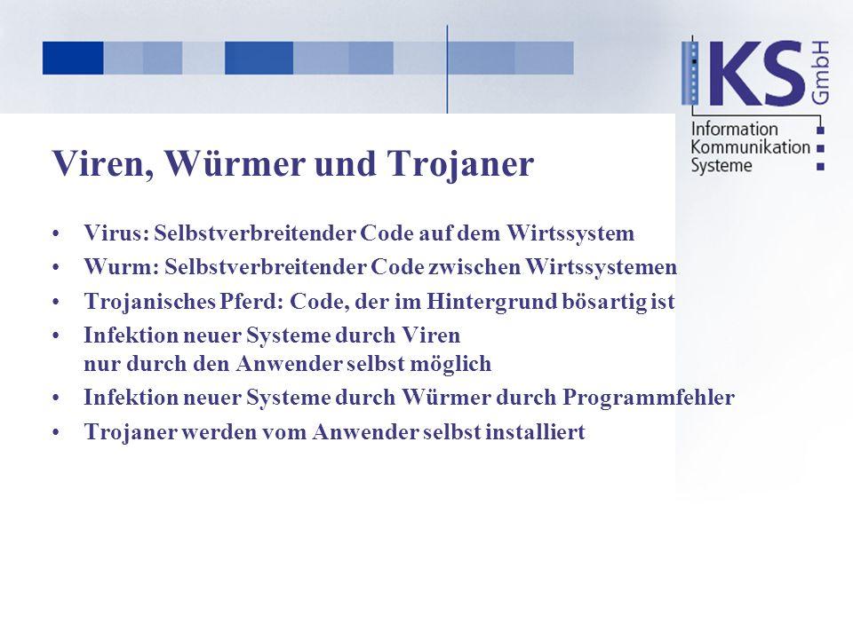 Viren, Würmer und Trojaner Virus: Selbstverbreitender Code auf dem Wirtssystem Wurm: Selbstverbreitender Code zwischen Wirtssystemen Trojanisches Pfer