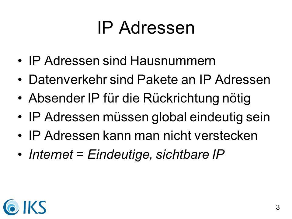4 Global eindeutige Adressen Koordinierte Vergabe: –IETF definiert Adressierungsarten –ICANN koordiniert Technik und Politik –IANA verteilt Blöcke an Regionen (RIRs) –RIR reservieren Adresspools für Provider –Provider weisen Kunden Adressbereiche zu Jeder Nutzer hat eine Adresse, die ihm persönlich zugewiesen ist.