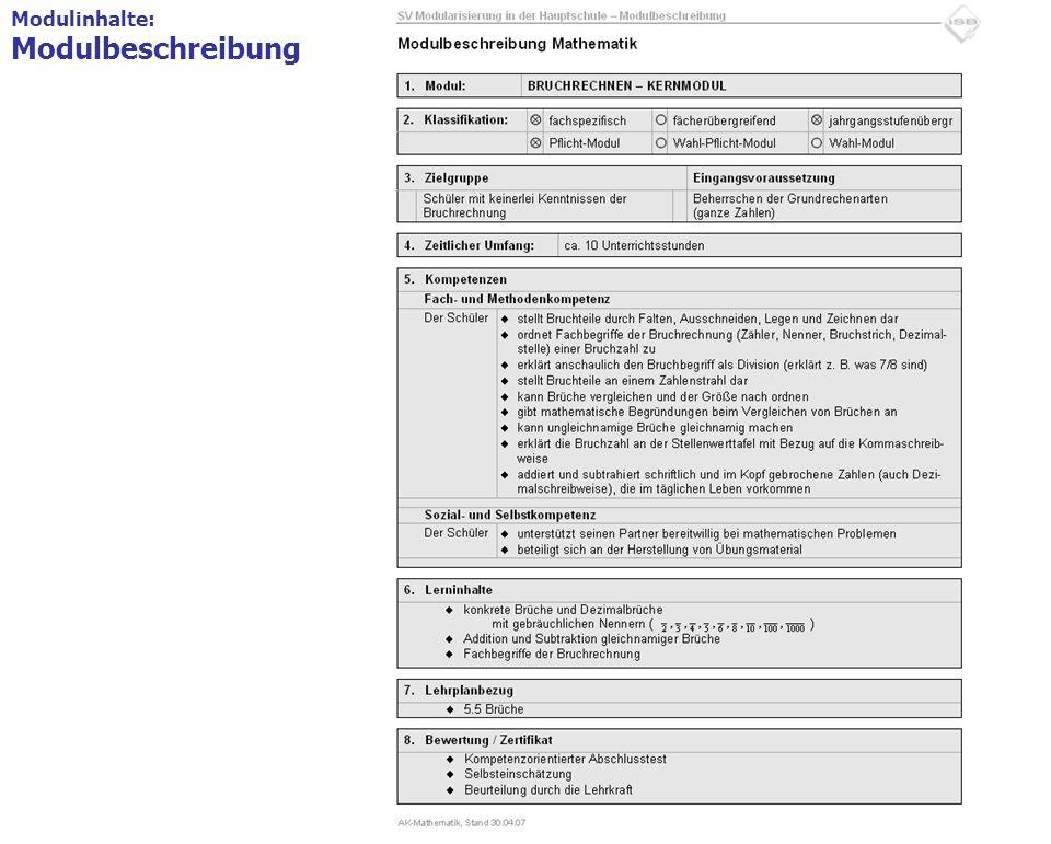 12 Modulinhalte 1.Modulbeschreibung = Deckblatt Formblatt mit den wichtigsten Angaben, z.B. Themenschwerpunkt, Kompetenzen Modulinhalte: Modulbeschrei