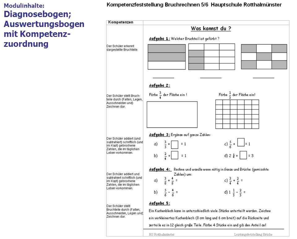 15 Modulinhalte 1.Modulbeschreibung = Deckblatt Formblatt mit den wichtigsten Angaben, z.B. Themenschwerpunkt, Kompetenzen Modulinhalte: Diagnosebogen