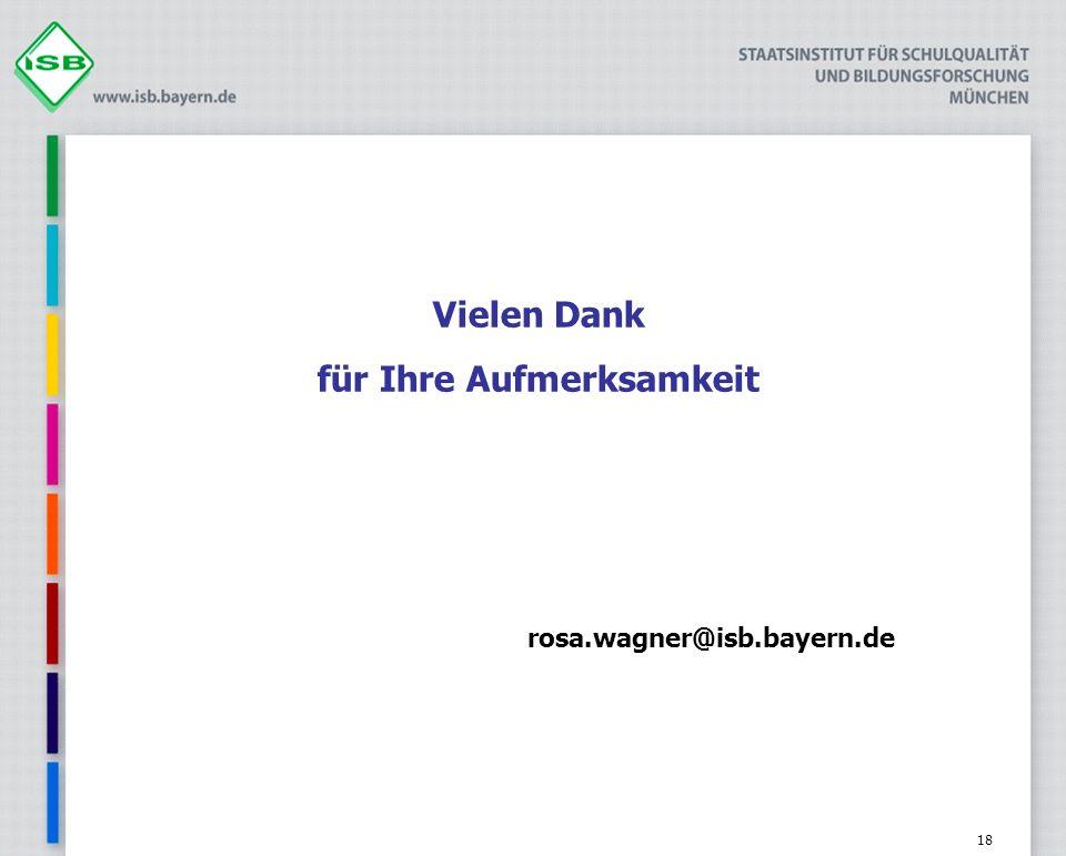 18 Vielen Dank für Ihre Aufmerksamkeit rosa.wagner@isb.bayern.de