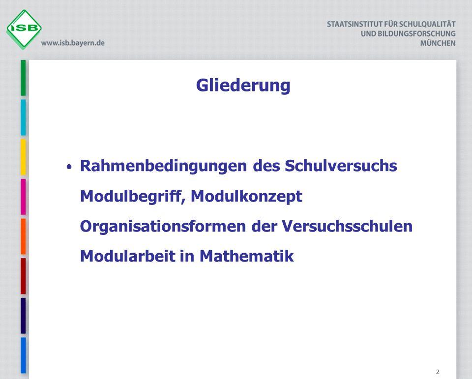 2 Gliederung Rahmenbedingungen des Schulversuchs Modulbegriff, Modulkonzept Organisationsformen der Versuchsschulen Modularbeit in Mathematik