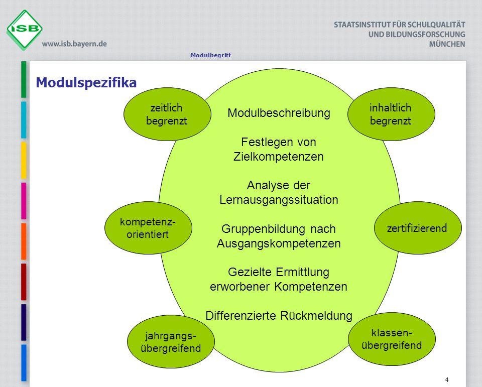 4 Modulspezifika Modulbegriff Modulbeschreibung Festlegen von Zielkompetenzen Analyse der Lernausgangssituation Gruppenbildung nach Ausgangskompetenze