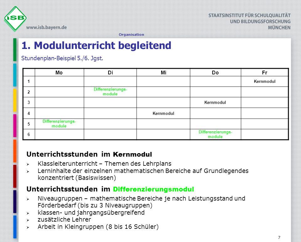 7 1. Modulunterricht begleitend Stundenplan-Beispiel 5./6. Jgst. Organisation MoDiMiDoFr 1Kernmodul 2 Differenzierungs- module 3Kernmodul 4 5 Differen