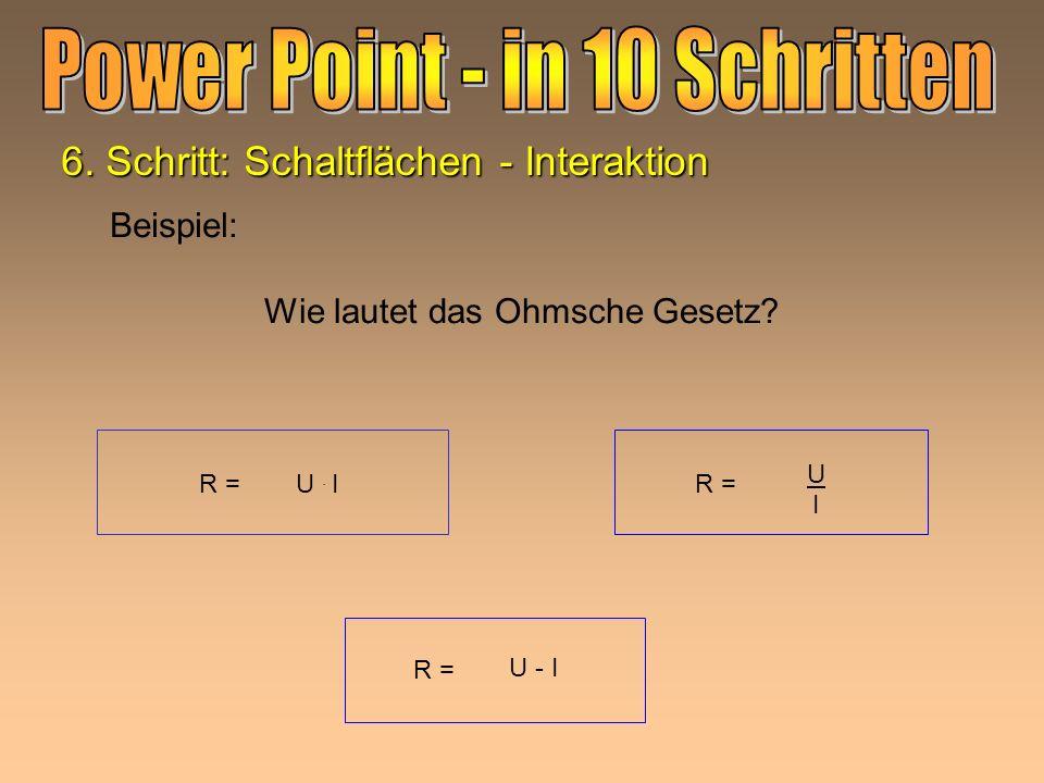 1. Bild oder Grafik markieren 2. Aus Bildschirmpräsentation Aktionseinstellungen wählen z.B.Hyperlink zu URL: www.pisa.it zu Programm ausführen: C:\ E
