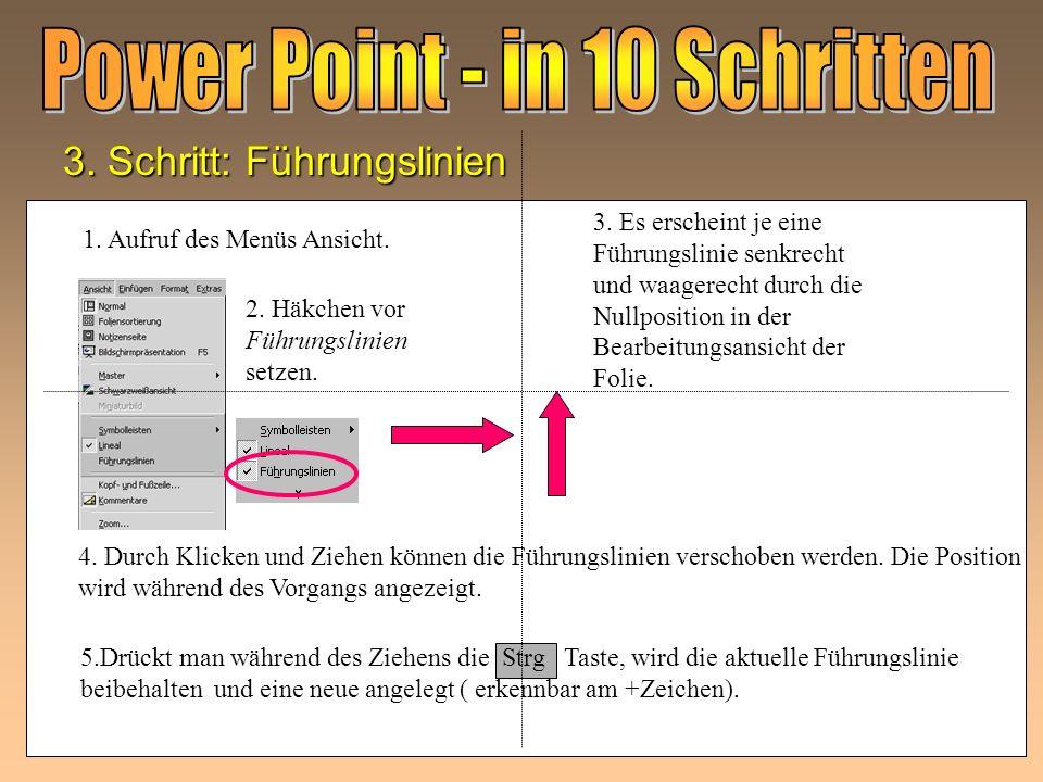 2. Schritt: Starten von PowerPoint Das Programm PowerPoint ist auf dem Computer installiert. 1. Programmstart mit Doppelklick öffnen! Nach dem Pro- gr