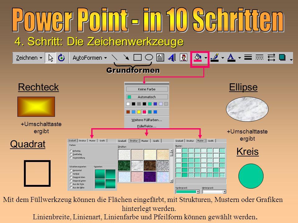 Linie Pfeil Linienbreite, Linienart, Linienfarbe und Pfeilform können gewählt werden. 4. Schritt: Die Zeichenwerkzeuge Grundformen