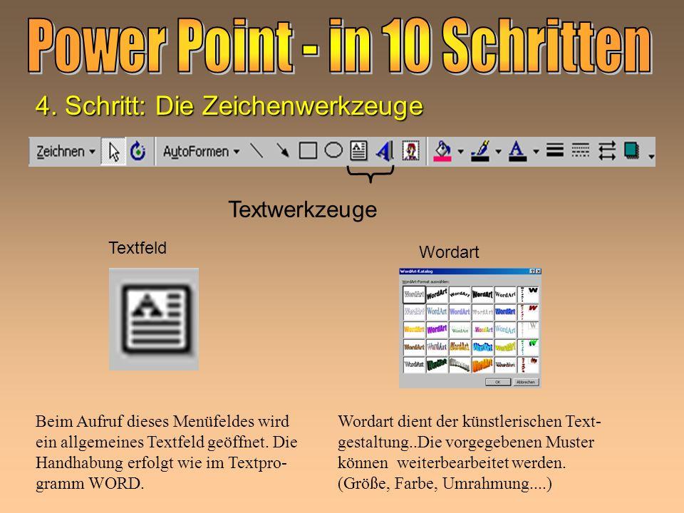 Textwerkzeuge Textfeld Wordart Beim Aufruf dieses Menüfeldes wird ein allgemeines Textfeld geöffnet.
