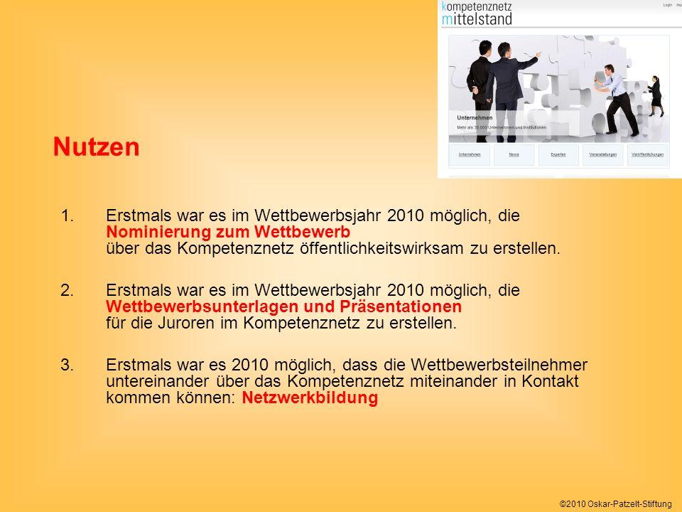 ©2010 Oskar-Patzelt-Stiftung 1.Erstmals war es im Wettbewerbsjahr 2010 möglich, die Nominierung zum Wettbewerb über das Kompetenznetz öffentlichkeitswirksam zu erstellen.