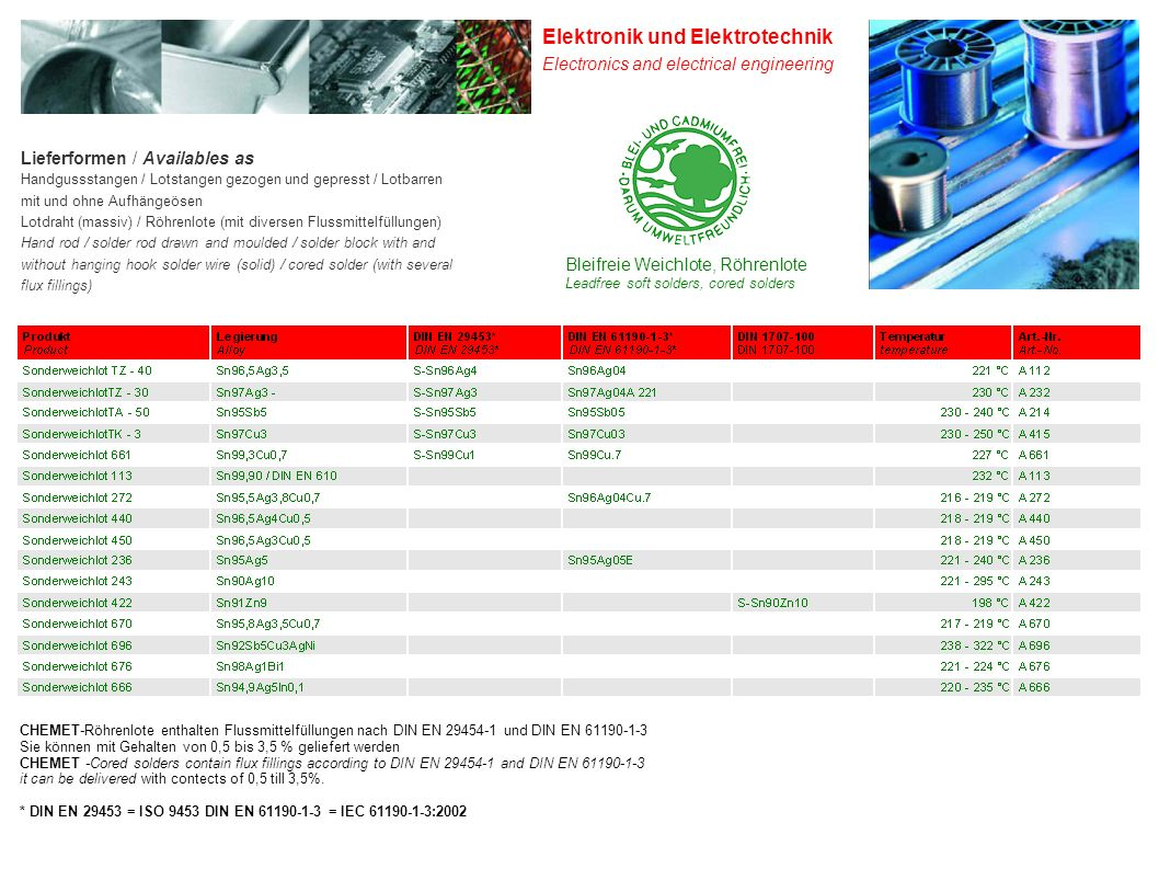 Bleifreie Weichlote, Röhrenlote Leadfree soft solders, cored solders Elektronik und Elektrotechnik Electronics and electrical engineering CHEMET-Röhrenlote enthalten Flussmittelfüllungen nach DIN EN 29454-1 und DIN EN 61190-1-3 Sie können mit Gehalten von 0,5 bis 3,5 % geliefert werden CHEMET -Cored solders contain flux fillings according to DIN EN 29454-1 and DIN EN 61190-1-3 it can be delivered with contects of 0,5 till 3,5%.