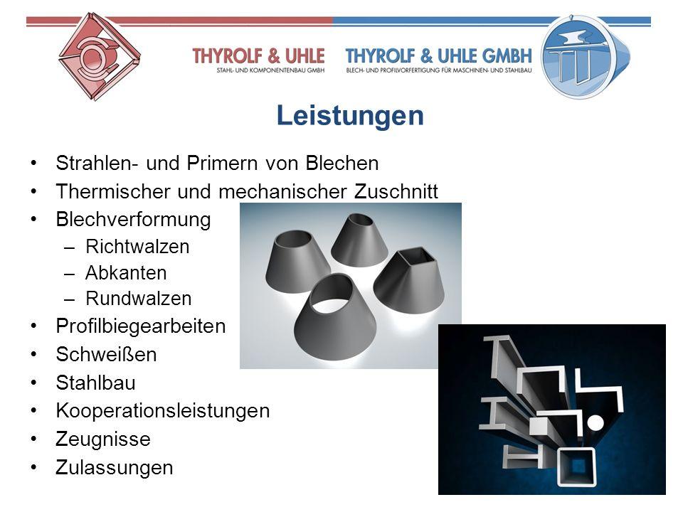 Strahlen- und Primern von Blechen Thermischer und mechanischer Zuschnitt Blechverformung –Richtwalzen –Abkanten –Rundwalzen Profilbiegearbeiten Schwei