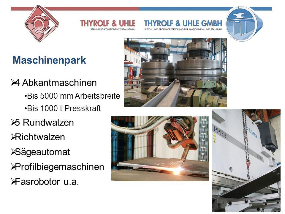 4 Abkantmaschinen Bis 5000 mm Arbeitsbreite Bis 1000 t Presskraft 5 Rundwalzen Richtwalzen Sägeautomat Profilbiegemaschinen Fasrobotor u.a. Maschinenp