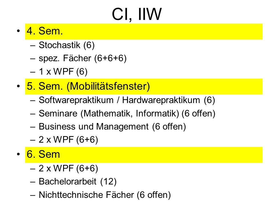 CI, IIW 4. Sem. –Stochastik (6) –spez. Fächer (6+6+6) –1 x WPF (6) 5.