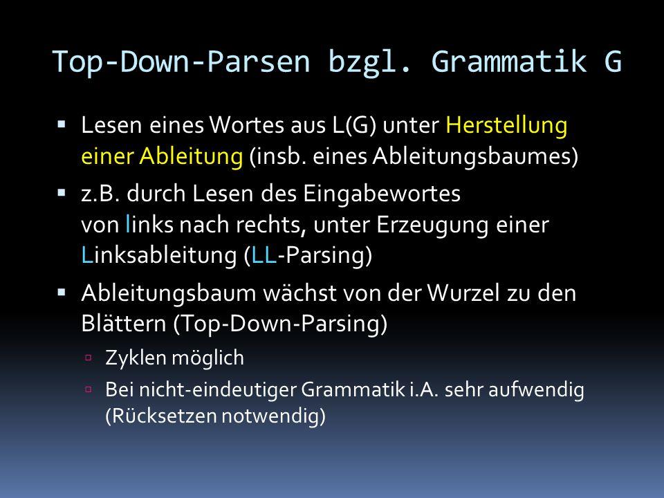 Top-Down-Parsen bzgl.