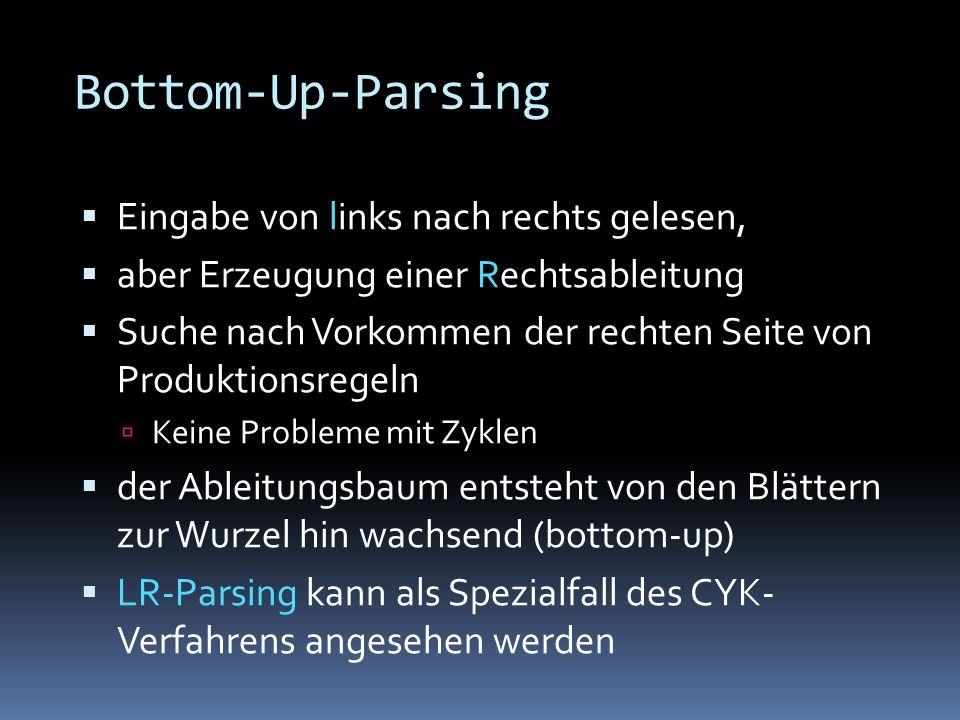 Bottom-Up-Parsing Eingabe von links nach rechts gelesen, aber Erzeugung einer Rechtsableitung Suche nach Vorkommen der rechten Seite von Produktionsregeln Keine Probleme mit Zyklen der Ableitungsbaum entsteht von den Blättern zur Wurzel hin wachsend (bottom-up) LR-Parsing kann als Spezialfall des CYK- Verfahrens angesehen werden