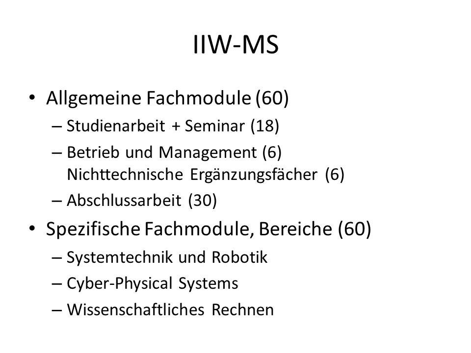 IIW-MS Allgemeine Fachmodule (60) – Studienarbeit + Seminar (18) – Betrieb und Management (6) Nichttechnische Ergänzungsfächer (6) – Abschlussarbeit (30) Spezifische Fachmodule, Bereiche (60) – Systemtechnik und Robotik – Cyber-Physical Systems – Wissenschaftliches Rechnen