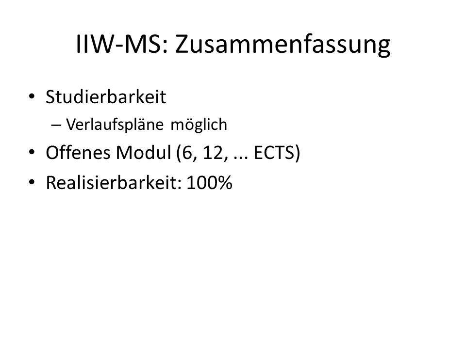 IIW-MS: Zusammenfassung Studierbarkeit – Verlaufspläne möglich Offenes Modul (6, 12,...
