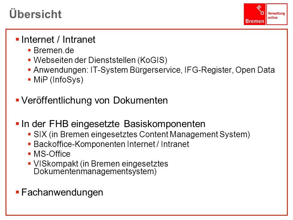1001001 1010100 Übersicht Internet / Intranet Bremen.de Webseiten der Dienststellen (KoGIS) Anwendungen: IT-System Bürgerservice, IFG-Register, Open D