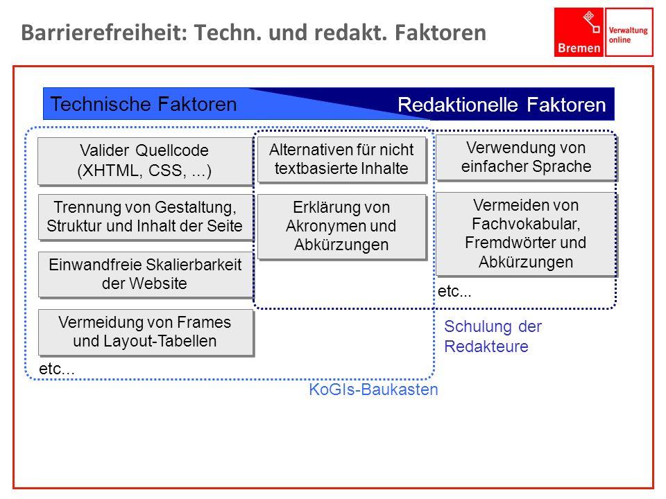 1001001 1010100 Barrierefreiheit: Techn. und redakt. Faktoren Technische Faktoren Alternativen für nicht textbasierte Inhalte Erklärung von Akronymen