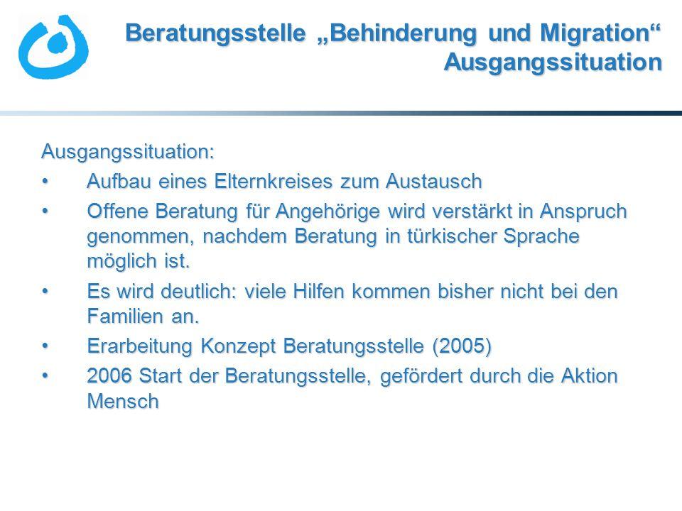 Beratungsstelle Behinderung und Migration Ausgangssituation Ausgangssituation: Aufbau eines Elternkreises zum AustauschAufbau eines Elternkreises zum