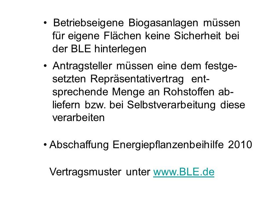 Betriebseigene Biogasanlagen müssen für eigene Flächen keine Sicherheit bei der BLE hinterlegen Antragsteller müssen eine dem festge- setzten Repräsen