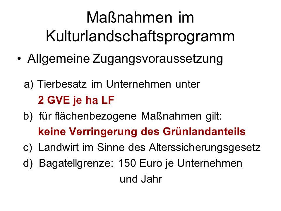 Maßnahmen im Kulturlandschaftsprogramm Allgemeine Zugangsvoraussetzung a) Tierbesatz im Unternehmen unter 2 GVE je ha LF b) für flächenbezogene Maßnah