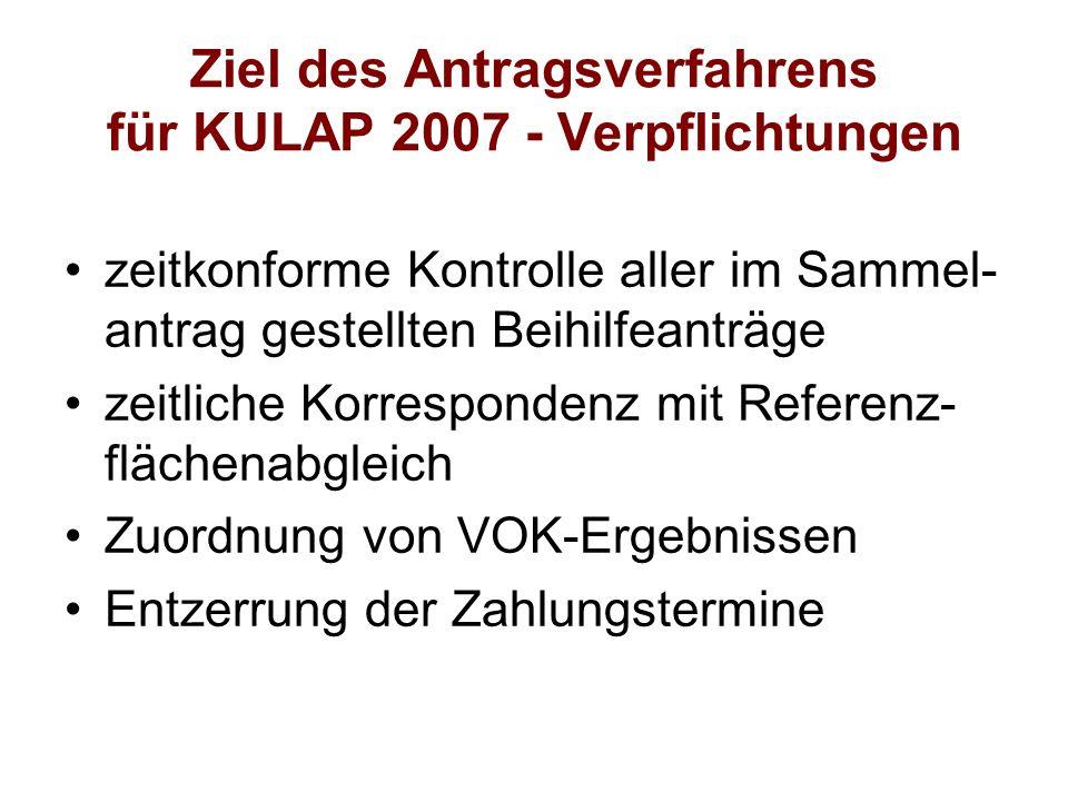 Ziel des Antragsverfahrens für KULAP 2007 - Verpflichtungen zeitkonforme Kontrolle aller im Sammel- antrag gestellten Beihilfeanträge zeitliche Korres