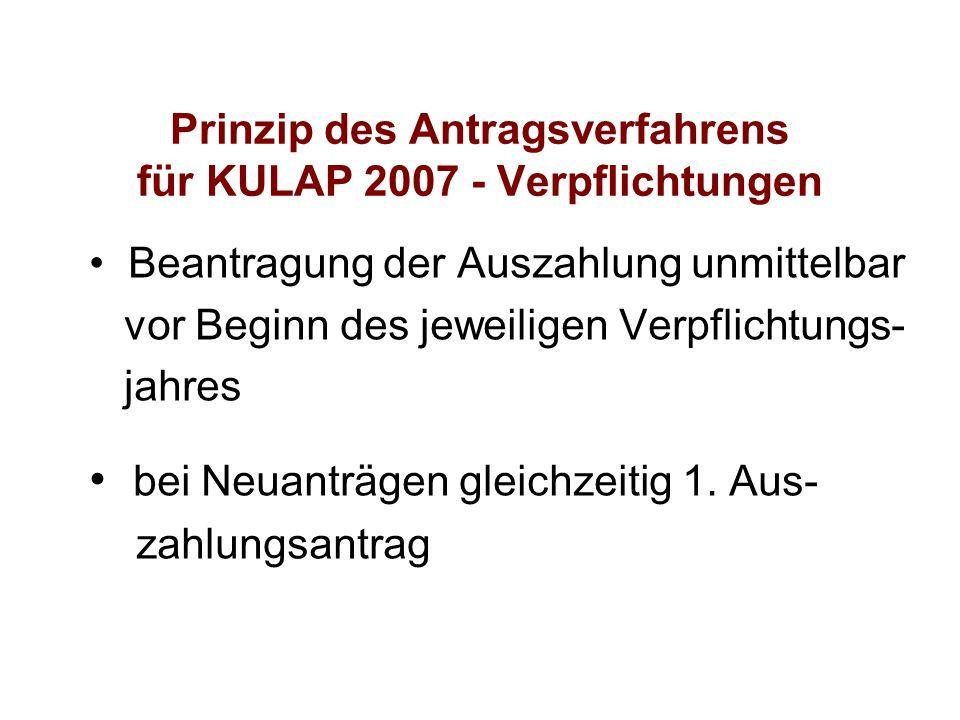 Prinzip des Antragsverfahrens für KULAP 2007 - Verpflichtungen Beantragung der Auszahlung unmittelbar vor Beginn des jeweiligen Verpflichtungs- jahres