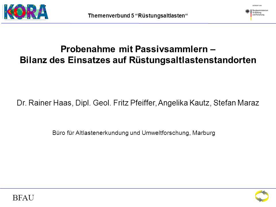 Themenverbund 5 Rüstungsaltlasten BFAU Tiefenorientierte Schadstoff-Fahnenkartierung im Abstrom von Altlasten (Teeröl, LHKW, BTXE, PAK) Langzeit-Tiefen-Monitoring in der Ostsee Fluß-Monitoring in der GOIAS-Region, Brasilien Quantitatives Monitoring von Trinkwasser in Dushanbe, Tadschikistan Monitoring von Abwasser in der Industrie-Region von Grodno, Belarus Monitoring von Deponiesickerwasser in Abidjan, Côte d´ Ivoire Weitere Passivsammler-Projekte