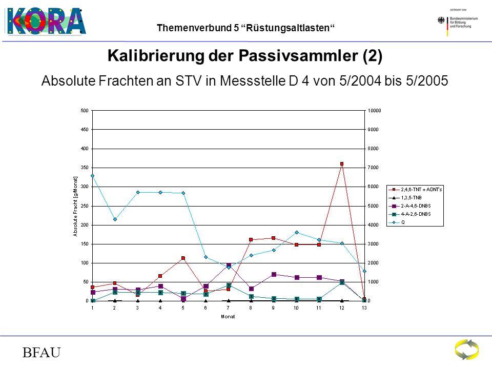 Themenverbund 5 Rüstungsaltlasten BFAU Kalibrierung der Passivsammler (2) Absolute Frachten an STV in Messstelle D 4 von 5/2004 bis 5/2005