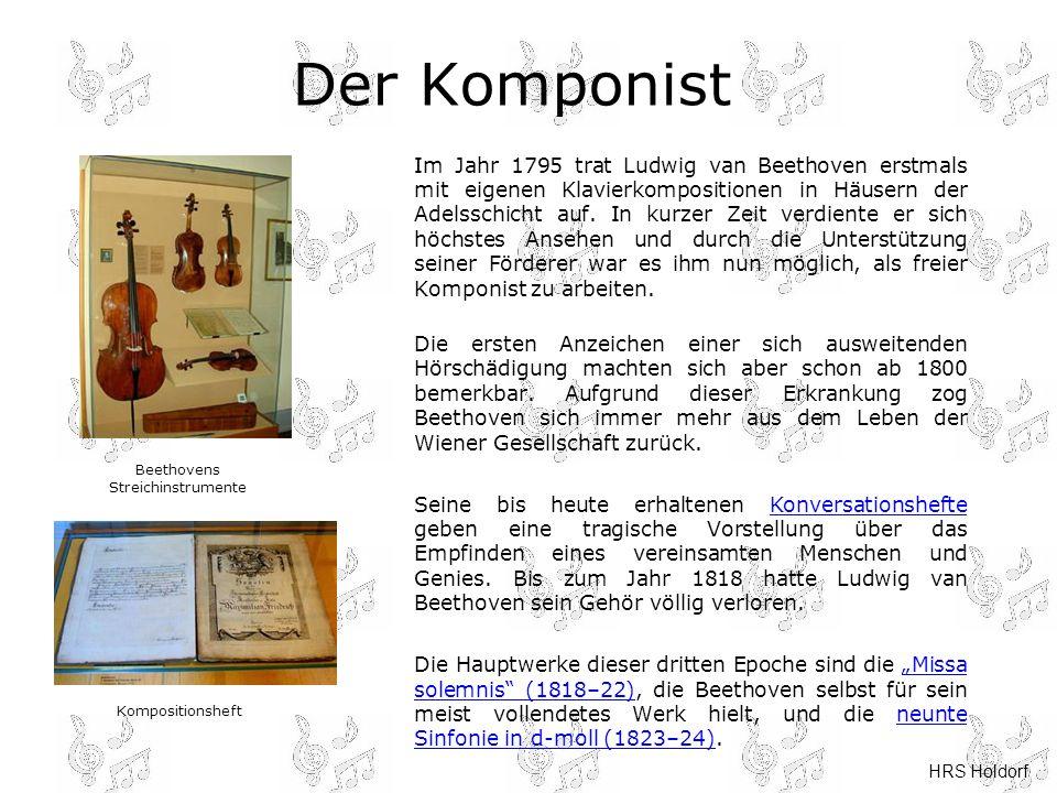 HRS Holdorf Der Komponist Im Jahr 1795 trat Ludwig van Beethoven erstmals mit eigenen Klavierkompositionen in Häusern der Adelsschicht auf. In kurzer
