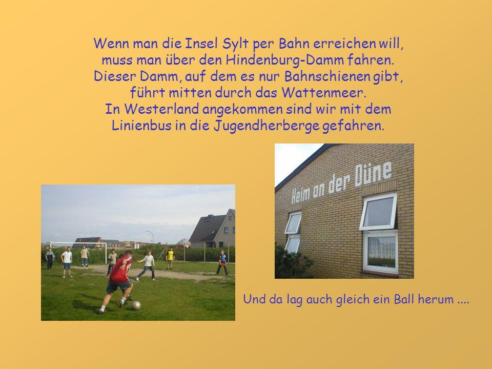Wenn man die Insel Sylt per Bahn erreichen will, muss man über den Hindenburg-Damm fahren. Dieser Damm, auf dem es nur Bahnschienen gibt, führt mitten