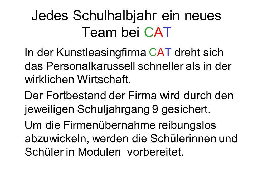 Jedes Schulhalbjahr ein neues Team bei CAT In der Kunstleasingfirma CAT dreht sich das Personalkarussell schneller als in der wirklichen Wirtschaft.