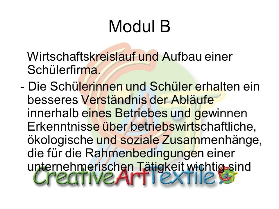 Modul B Wirtschaftskreislauf und Aufbau einer Schülerfirma.