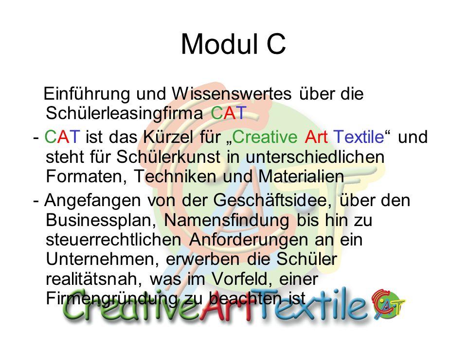 Modul C Einführung und Wissenswertes über die Schülerleasingfirma CAT - CAT ist das Kürzel für Creative Art Textile und steht für Schülerkunst in unterschiedlichen Formaten, Techniken und Materialien - Angefangen von der Geschäftsidee, über den Businessplan, Namensfindung bis hin zu steuerrechtlichen Anforderungen an ein Unternehmen, erwerben die Schüler realitätsnah, was im Vorfeld, einer Firmengründung zu beachten ist
